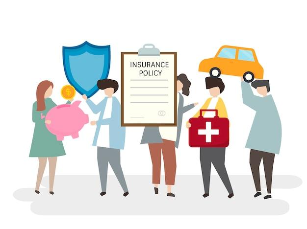 さまざまな保険契約のイラストレーション