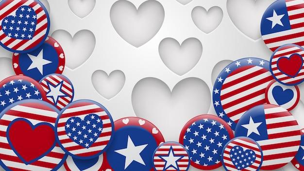 穴のある白地に赤と青の色でさまざまな米国のシンボルのイラスト