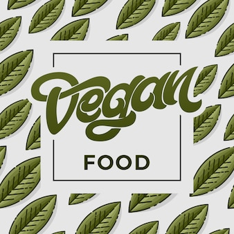 Иллюстрация концепции vegan food. зеленый фон с листьями. рукописные надписи для меню ресторана, кафе. элементы для этикеток, логотипов, наклеек. винтажный стиль иллюстрации.