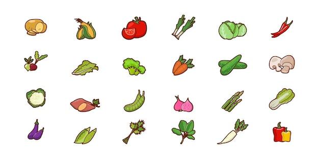 Иллюстрация овощей мультфильм векторный дизайн