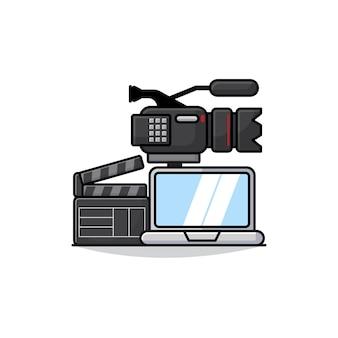 ノートパソコン、カメラ、クラッパーのアイコンが付いたビデオおよびフィルム制作機器のイラスト