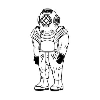 白い背景の上のヴィンテージのダイバー衣装のイラスト。ロゴ、ラベル、エンブレム、記号の要素。図