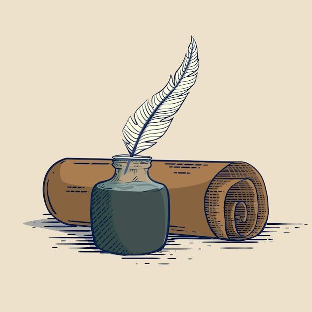 彫刻スタイルの羽インクでヴィンテージ羊皮紙のイラスト