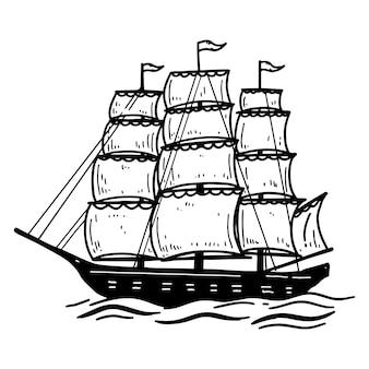 빈티지 바다 배의 그림입니다. 포스터, 카드, 엠블럼, 사인, 배너 요소. 영상