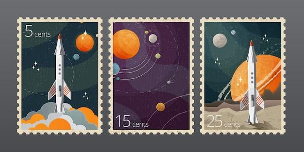 Иллюстрация старинных космических почтовых марок с планетами, изолированных на сером фоне