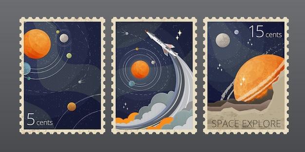 빈티지 공간 우표의 그림