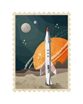 ヴィンテージ空間切手のイラスト