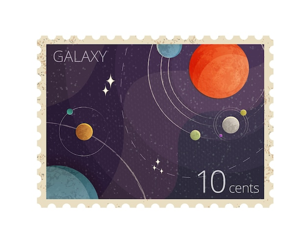 Иллюстрация старинных космических почтовых марок