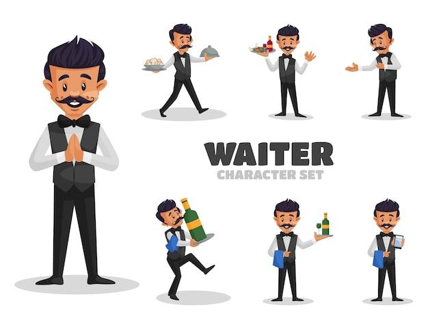 ウェイターのキャラクターセットのイラスト