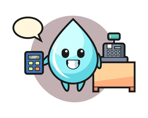 Иллюстрация характера капли воды в качестве кассира, милый дизайн стиля для футболки