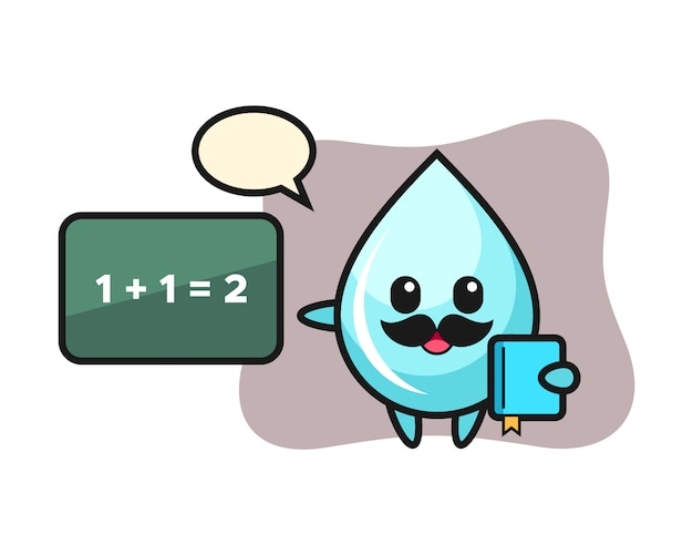 Иллюстрация характера капли воды в качестве учителя, милый дизайн для футболки