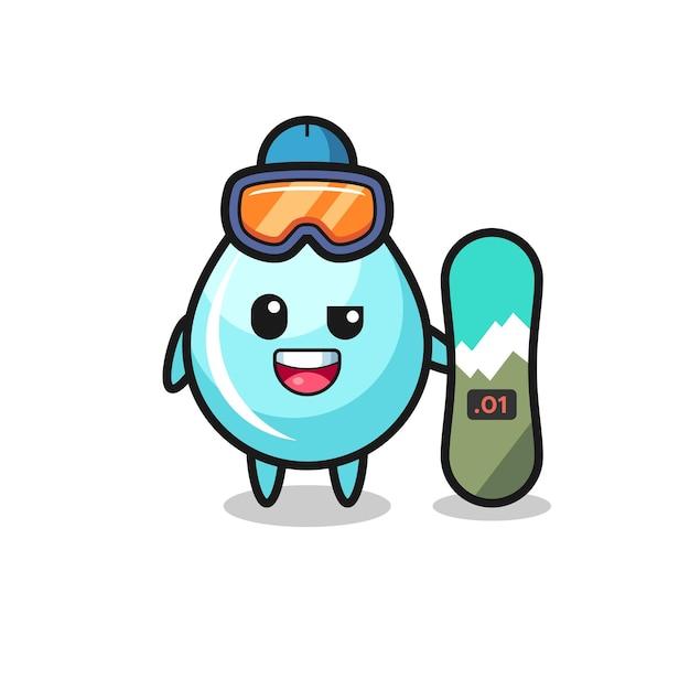 Иллюстрация персонажа капли воды в стиле сноуборда, милый стиль дизайна для футболки, наклейки, элемента логотипа