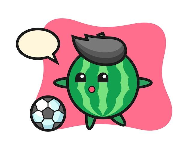 Иллюстрация арбуз мультфильма играет в футбол
