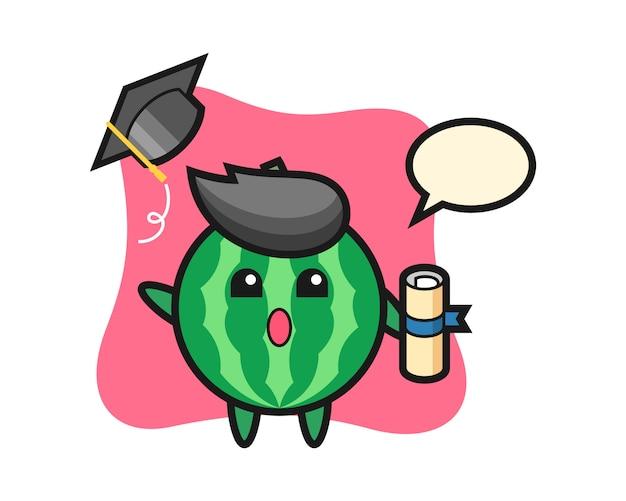 卒業式で帽子を投げるスイカ漫画のイラスト