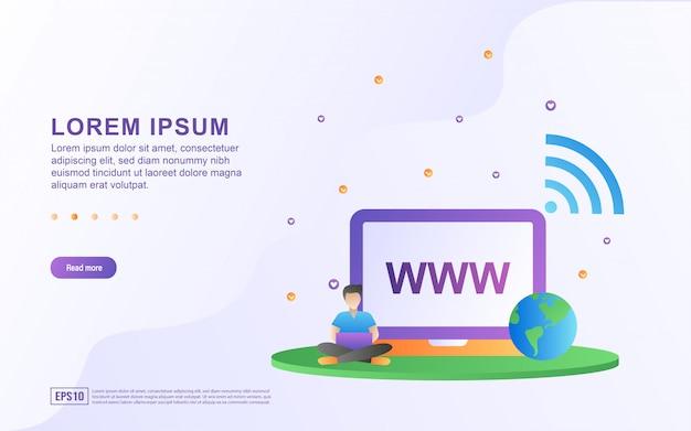 ウェブサイトのコンセプトのイラスト。人々はラップトップを使ってウェブサイトにアクセスしています。