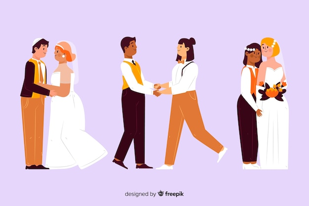 웨딩 커플 컬렉션의 그림
