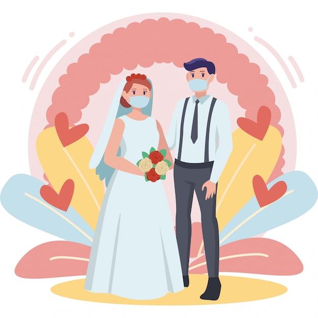 カラフルなパステルカラーの結婚式のカップルのイラスト