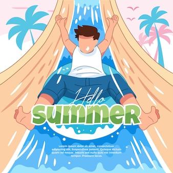 Иллюстрация приветливого лета с веселыми мероприятиями