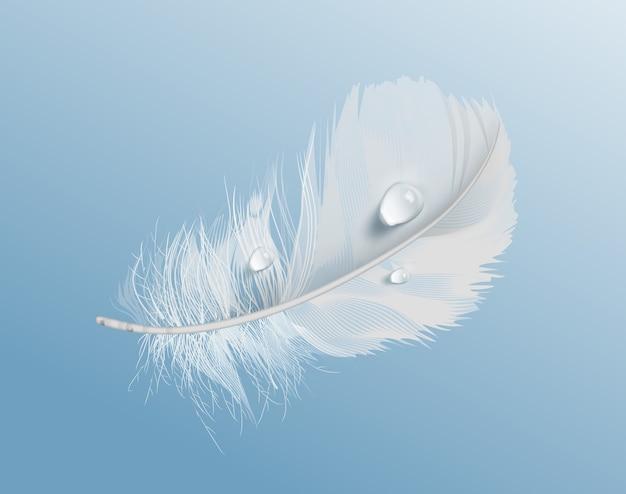 Иллюстрация белого воздушного мягкого птичьего пера с каплями воды на синем фоне