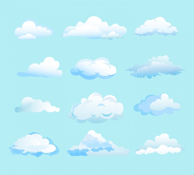 Иллюстрация белые облака на голубом фоне в плоском мультяшном стиле. различные формы облаков.