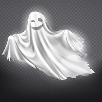 Illustration of white ghost, smiling phantom silhouette isolated on transparent background.