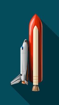 파란색에 그림자와 함께 빨간색 부스터 측면보기와 흰색 셔틀의 그림
