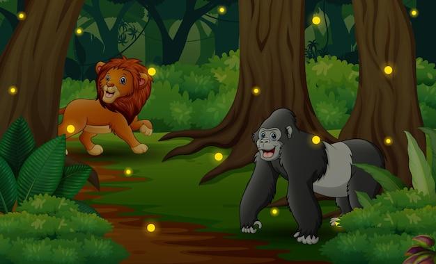 Иллюстрация диких животных, играющих в джунглях