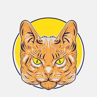 デザインやロゴのニーズのための野生の猫のイラスト