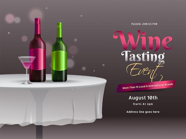 ワインテイスティングイベントやパーティーのお祝いバナーやポスターデザインのレストランのテーブルの上のガラスを飲み物とワインのボトルのイラスト。