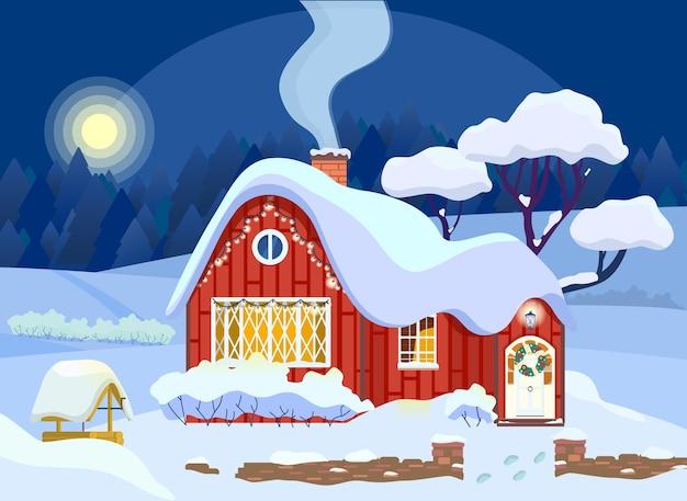 Иллюстрация зимнего загородного дома украшена