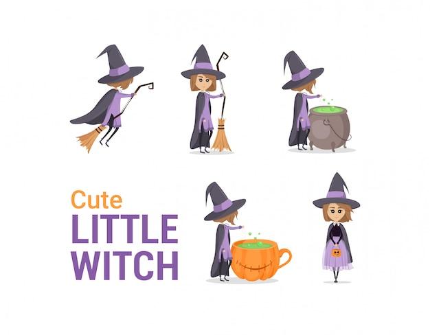大釜の近くのほうきで飛んでいる魔女のイラスト。かわいい、小さな魔術師のセットです。キャラクターデザイン