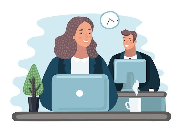 데스크톱 컴퓨터와 커피와 함께 자신의 책상 뒤에 사무실에서 일하는 여자와 남자의 그림.