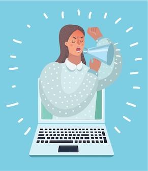 Иллюстрация женщины появляется из портативного компьютера с мегафоном.