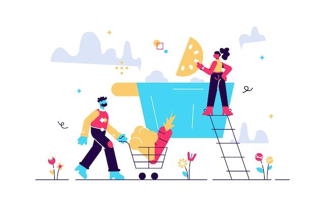 Иллюстрация женщины готовят и мужчина собирает овощи в тележке супермаркета