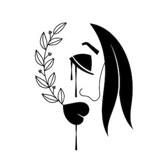 涙を流しながら泣いている女性のイラスト。孤立。