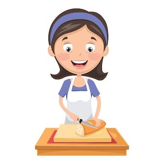 パンを切る女性のイラスト