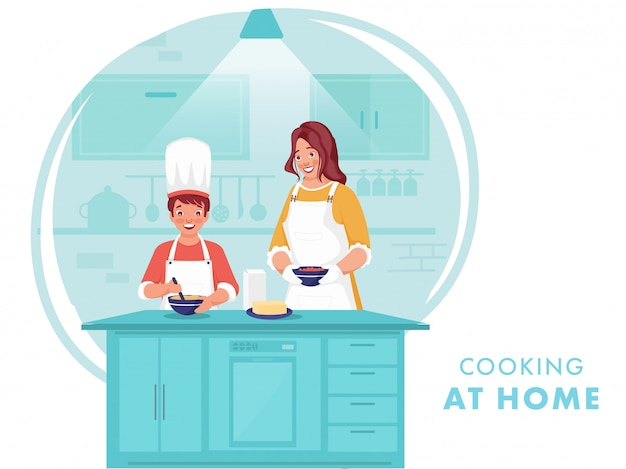 コロナウイルス中にキッチンの家で息子が食べ物を作るのを助ける女性のイラスト。