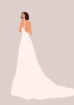 ウェディングドレスの女性のイラスト