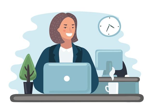Иллюстрация женщины в офисе на своем ноутбуке.