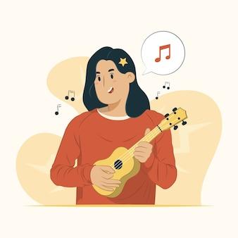 ギターを弾く女性のイラスト
