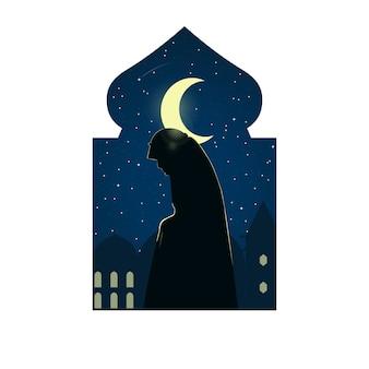 Иллюстрация силуэта женщины делая shalat в святом месяце рамазана. рамадан карим. ифтар. голодание. плоский стиль, изолированные на белом фоне. мусульманское паломничество (хадж)