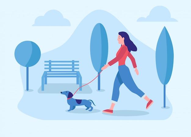 강아지와 함께 산책하는 여자의 그림