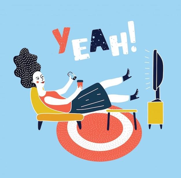 テレビの肘掛け椅子を見て、椅子に座って、飲む女性のイラスト