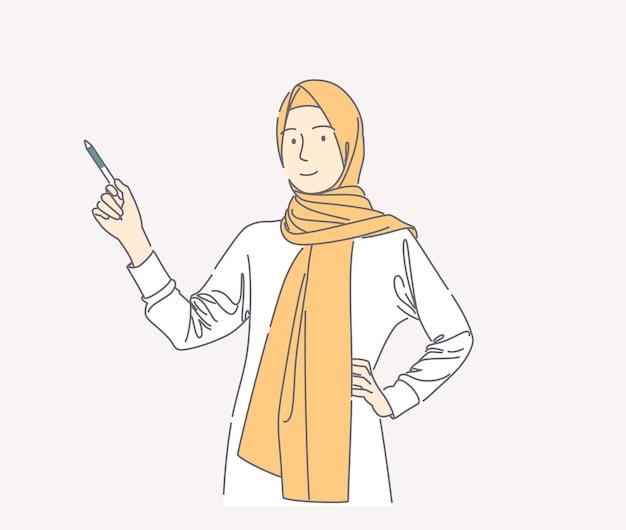 펜으로 가리키고 카메라 손을보고 hijab를 착용하는 여자의 그림 그린