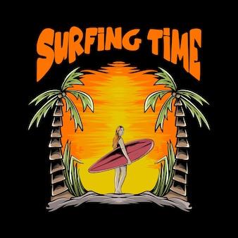 Tシャツのデザインとプリントのための夕日とサーフボードを持つ女性のイラスト