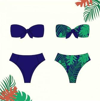 女性のビキニ、夏のビキニ水着、ファッションフラットスケッチテンプレートのイラスト。
