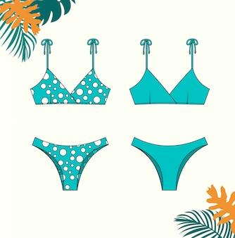 夏のファッションフラットスケッチテンプレートの女性のビキニ、青いビキニ水着のイラスト。