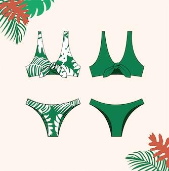 女性のビキニ、夏、ファッションフラットスケッチテンプレートの緑のビキニ水着のイラスト。