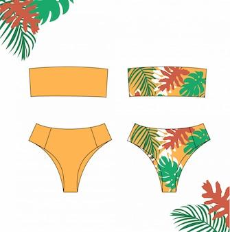 女性のビキニ、夏、ファッションフラットスケッチテンプレートのオレンジ色のビキニ水着のイラスト。