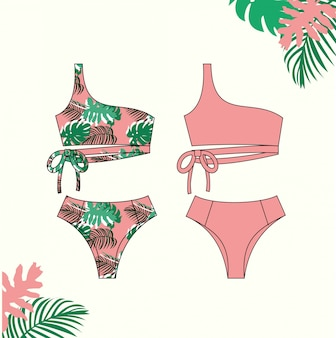 여자 비키니, 여름, 패션 플랫 스케치 템플릿 핑크 비키니 수영복의 그림.